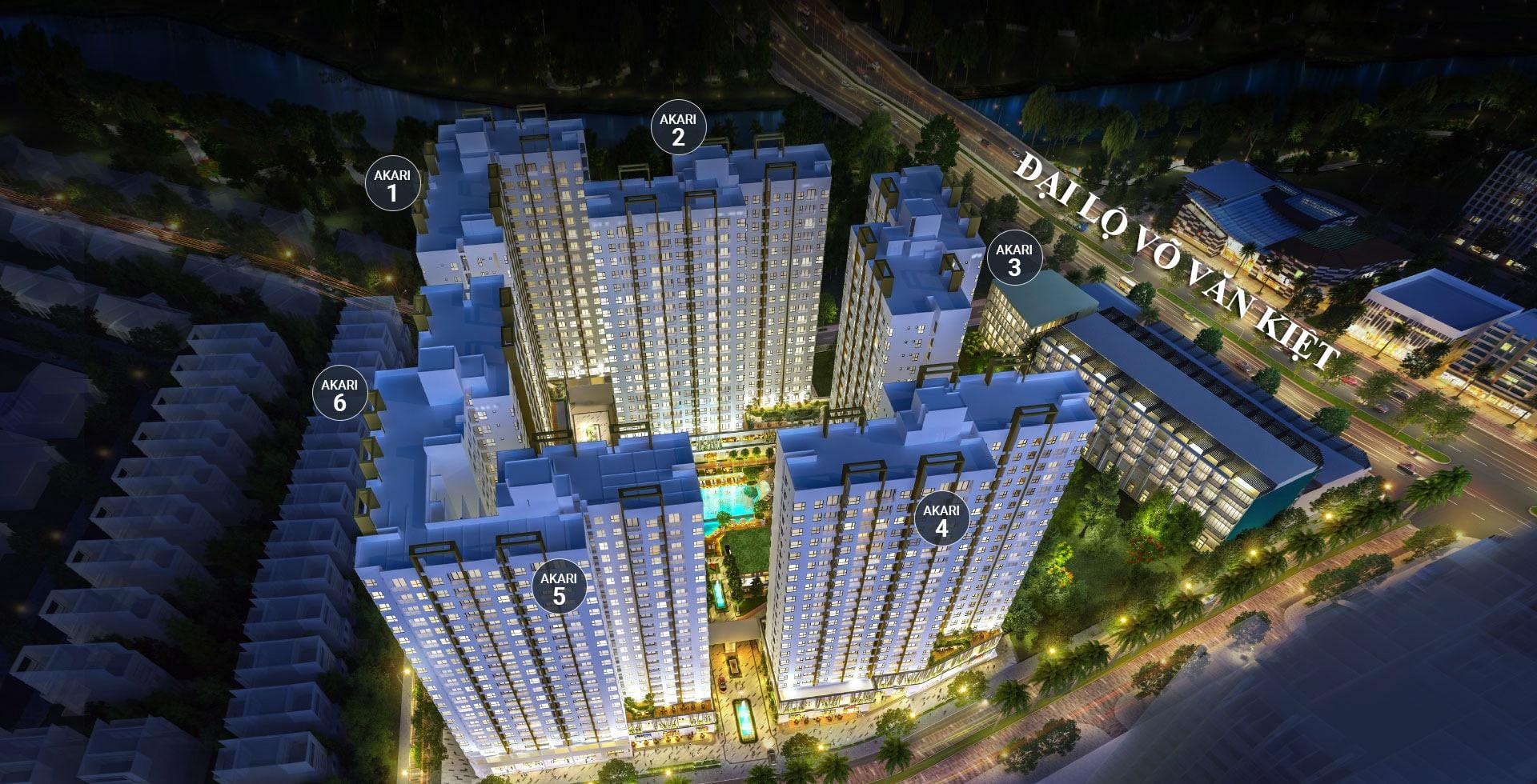 Vị trí các block Phase 1 của Dự án căn hộ Akari City.